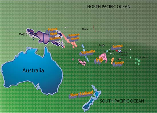South Pacific journalism schools ... click on link country titles. Map: © Joy Zhang/PMC