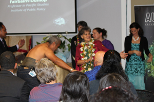 A male dancer honours Tagaloatele at the professorial address. Photo: Yvonne Brill/PMC