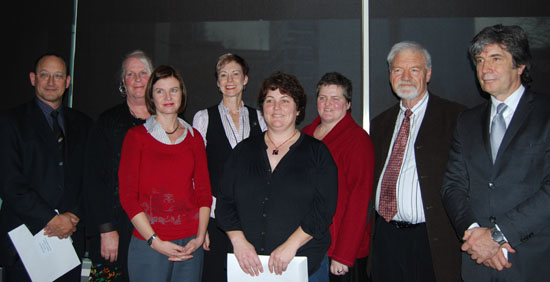 Award winners Dr Roy Nates (from left), Lexie Matheson, Dr Sharyn Graham Davies, Rouxelle De Villiers, Jeanie Benson, Monique Redmond, Dr David Robie and Vice-Chancellor Derek McCormack. Photo: Del Abcede