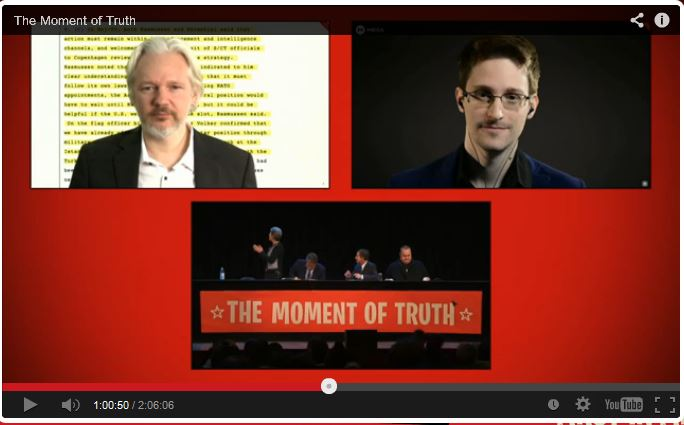 Global whistleblowers Edward Snowden and Julian Assange spoke at the meeting in Auckland, via video link. Image: kim.com