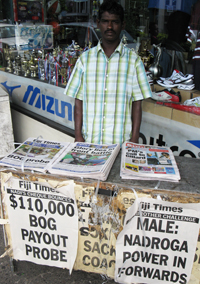 A Fiji Times newspaper vendor (Photo: David Robie/PMC)