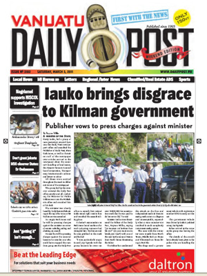 Saturday's front page of the Vanuatu Daily Post. Image:VDP