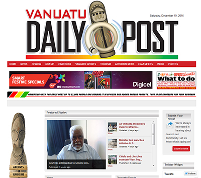 "The Vanuatu Daily Post ... online today: ""First with the news."""