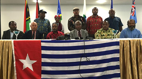 The incoming and outgoing Melanesian Spearhead Group representatives at Honiara. Image: Stefan Armbruster/SBS