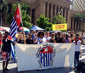 West Papua solidarity campaigners at a rally in Brisbane at the weekend. Image: Free West Papua Campaign